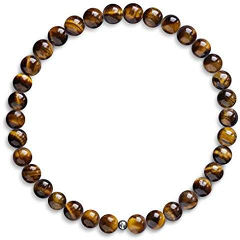 Braccialetto con perline occhio di tigre, da 6mm, con perline e 925Argento Sterling Braccialetto elastico con perline, per uomo e donna, design unico e realizzato nel Regno Unito
