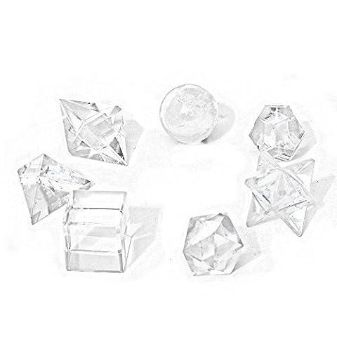 7 Klar Fels-quarz Platonische Körper Heilige Geometrie Kristall-heilung Feng Shui - mit Tierhalter Tasche