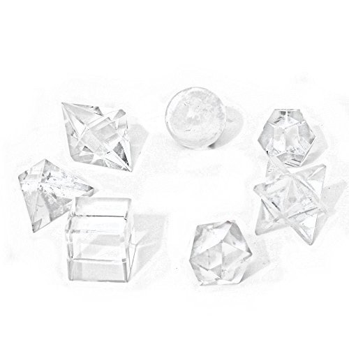 7 Klar Fels-quarz Platonische Körper Heilige Geometrie Kristall-heilung Feng Shui - mit Tierhalter Tasche - Körper Kristalle