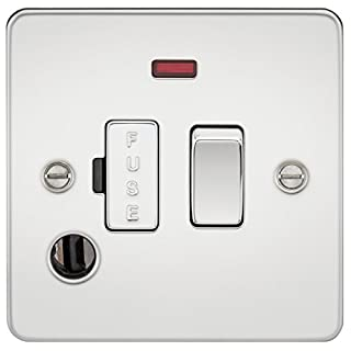 Knightsbridge FP6300FPC FPAV6300FPAVC Flat Plate 13A Switched Fused Spur Unit with Neon and Flex Outlet-Polished Chrome