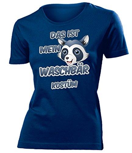 Waschbär Kostüm Kleidung 5260 Damen T-Shirt Frauen Karneval Fasching Faschingskostüm Karnevalskostüm Paarkostüm Gruppenkostüm Navy ()