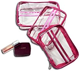PrettyKrafts Plastic Travel Toiletry Bag, makeup, Jewellery Pouch Set (Pink) - 3 Pieces