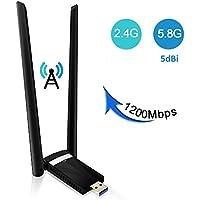 USB Wifi 1200Mpbs SUMGOTT Antera Adaptador Wifi USB 3.0 Inalámbrico Dual Band Soporte de 5Ghz 867Mbps para PC con Windows XP / Vista / 7/8/10,  Max OSX