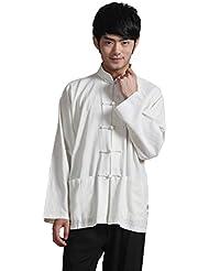 JTC Hommes Costume Kung-fu Rétro Vêtement Chinois Veste Manches longues blanc