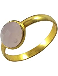 My Jewels 24k Gold Plated Ring, Genuine Rose Quartz Ring For Girls And Women. Hand Made Rings.