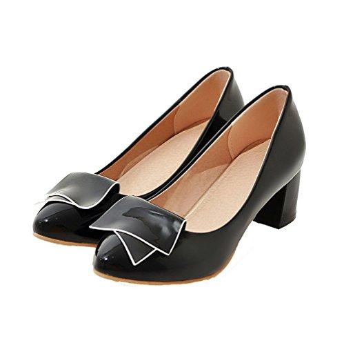 VogueZone009 Femme Verni Couleur Unie Tire Rond à Talon Correct Chaussures Légeres Noir