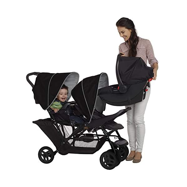 Graco Stadium Duo Click Connect Tandem Pushchair, Black/Grey Graco Compatible with all graco click connect car seats, which can be easily added to the tandem chassis with just one click. Folded-Length:66cm, Height: 109cm Convenient one-hand standing fold, featuring an automatic storage latch that folds effortlessly. Maximum weight capacity is 15 Kg. Stadium-style seating positions with slightly higher rear seat, so that both children can see the world around them 6