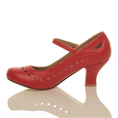 Herzmuster Mary Jane mittlerer Absatz Feinmachen Pumps Schuhe - 3