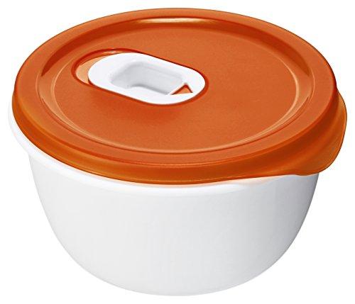 Rotho Micro Clever Schüssel geeignet für die Mikrowelle, Kunststoff (BPA-frei), rot / weiss, 0.8 Liter ( 16 x 16 x 8,5 cm )