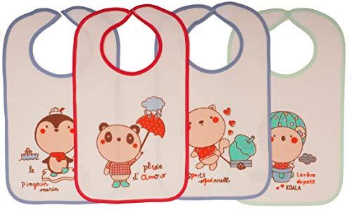 Ti TIN Pack 4 Baberos Estampados Impermeables Bebé