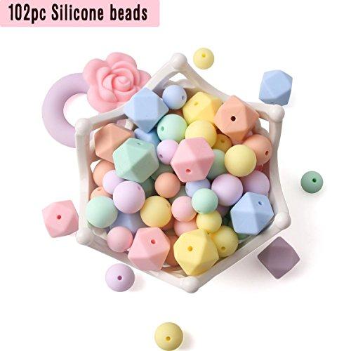 on Perlen Zahnen Halsketten 102pcs Lose Perle für sensorische Beißringe Süßigkeiten Serie Pflege Schnuller Clip Armband ()