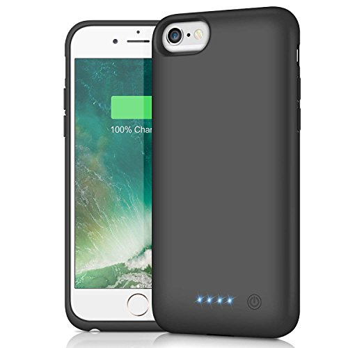 HETP Cover Batteria per iPhone 6/6s/7/8, 6000 mAh Ricaricabile Custodia Batteria Portatile Backup Caricabatterie Ultra Sottile Power Case per iPhone 6 iPhone 6s iPhone 7 iPhone 8 (4,7'')