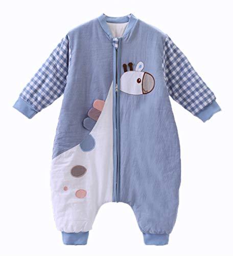 Chilsuessy Baby Schlafsack mit Beinen Warm gefüttert Winter Langarm Winterschlafsack mit Füssen 3.5 Tog (M/Koerpergroesse 75-85cm, Blau Giraffe/2.5 Tog)