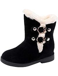 Lucky Mall Frauen Wildleder Runde Zehe Wedges Schuhe, Warme Slip On Schneestiefel
