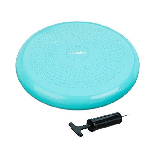 Relaxdays Balance Kissen 33 cm, Balance Pad mit Luftpumpe, Gleichgewichtskissen mit Noppen, Fitness Kissen, Mint-Grün