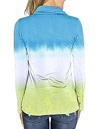 NPRADLA Sommer Longshirt Damen Langarm Bluse Frauen Hoodies Sweatshirts Mit Kapuze Farbverlauf Tops …