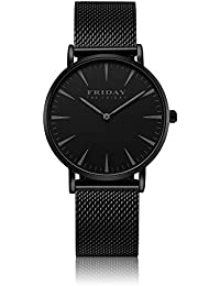 THE FRIDAY FRIDAY Mens Luxury Watches With Stainless Steel Mesh Band Ultra Thin Fashion Women Dress Wristwatch Unisex Quartz Watch with Watch Pin Removal Tool