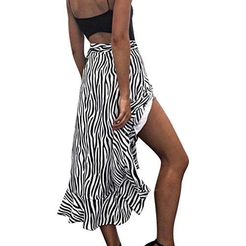 Damen Streifen Split Rock, LeeMon Mode Frauen Zebra Striped Print Verband Open Fork Rüschen Saum Böhmen Rock (Rosa Zebra-kleid Heiß)