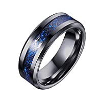 8mm Carbon Fiber Black Celtic Dragon Ring For Men Beveled Edges Wedding Band