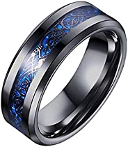 Blue Black Dragon Pattern Beveled Edges Celtic Rings Jewelry Wedding Band For Men