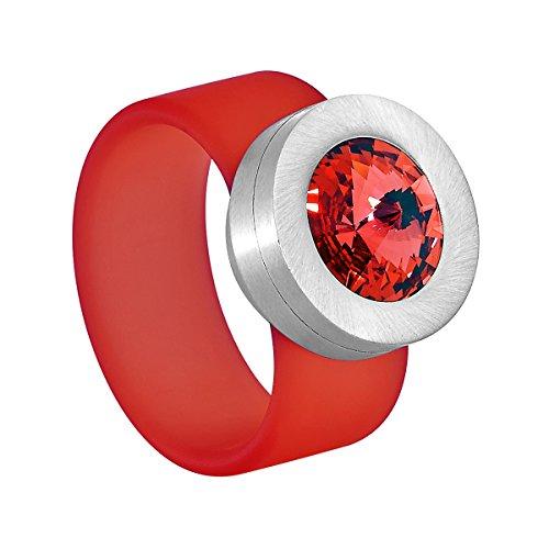 Heideman Ring Damen Colori rot aus Edelstahl Silber farbend und rot Damenring für Frauen mit Swarovski Stein Kristall -
