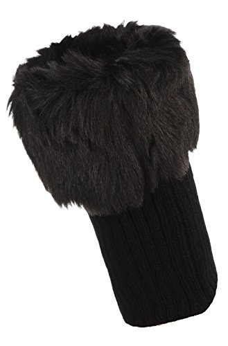 DEMU Damen Stulpen Gestrickt Stiefel Socken Beinstulpen Boot Abdeckung Beinwärmer Schwarz