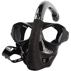 DWCC Plongée en Apnée Masque Complet en Verre Trempé Masque De Plongée Anti-Buée Lentille Sèche Supérieure Tuba De Purge Lunettes De Plongée Incassable pour Adulte,Black