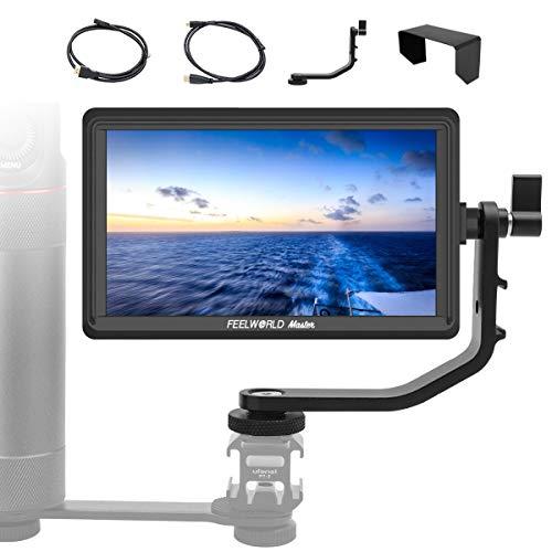 FeelWorld Master MA6F Kamera Monitor 5,5 Zoll DSLR Field Monitor 4K Externer Feldmonitor Video 175g 1280x720 IPS DC-Ausgang mit Kipparm HDMI Kabel Dual-Batterieplatte für Canon Nikon Panasonic Sony Hdmi-ausgang Kabel
