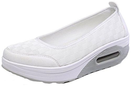NEWZCERS slip-on suola morbida traspirante, scarpe piattaforma semplice estate delle donne Bianco