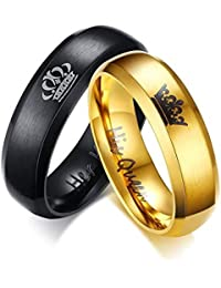 YouBella Silver Stainless Steel Jewellery His Queen Her King Never Fading Rings for Men and Women