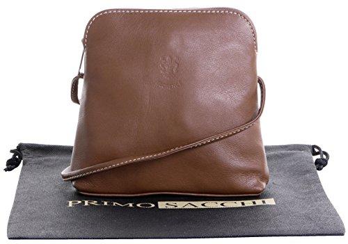 Vera pelle morbida italiana, attraversare il corpo piccolo / Micro o borsa a tracolla.Fornita nella pratica custodia protettiva marca. Beige scuro