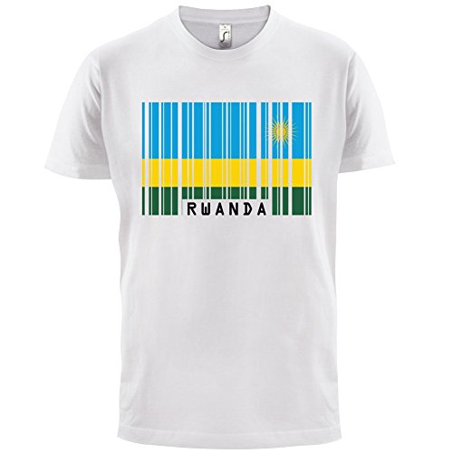 Rwanda / Ruanda Barcode Flagge - Herren T-Shirt - 13 Farben Weiß