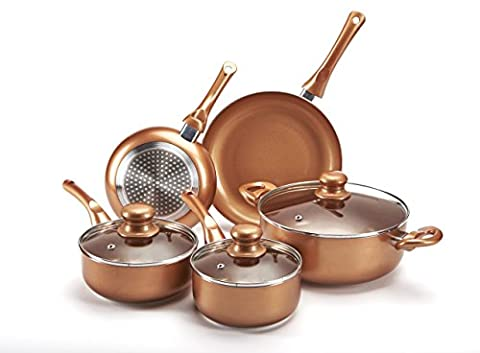 5 Piece Pan Set Non Stick Aluminium Copper Style Finish Suitable For Any Hob Induction Ceramic Gas Dishwasher