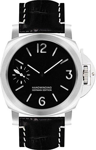 PARNIS 9061 Klassische Handaufzug Herren-Armband-Uhr aus massiv Titan 44mm nachtleuchtende Superluminova 5BAR Wasserdicht Saphirglas Lederarmband Markenuhrwerk von Seagull Kaliber ST36