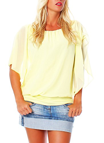 Damen Bluse im Fledermaus Look | Tunika mit Rundhals und breitem Bund | Blusenshirt Kurzarm | Elegant - Shirt 6296 (gelb) -