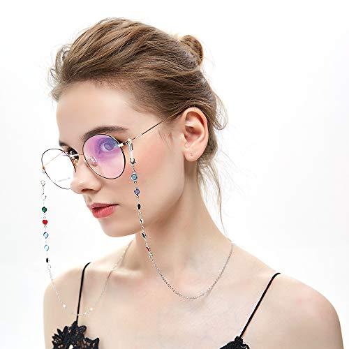 Brillenketten für Sonnebrillen Frauen Lesebrille Kette mit Bunt Bohren Silver BrilleBand Brille Cords Hals Cord Strap Mode Damen Brille Kette HalterBrillenkordel für Sonnenbrille Brillenbändel