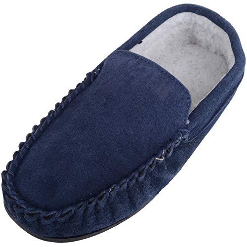 Zapatillas de andar por casa para hombre tipo mocasín con forro polar en el interior y suela de goma...