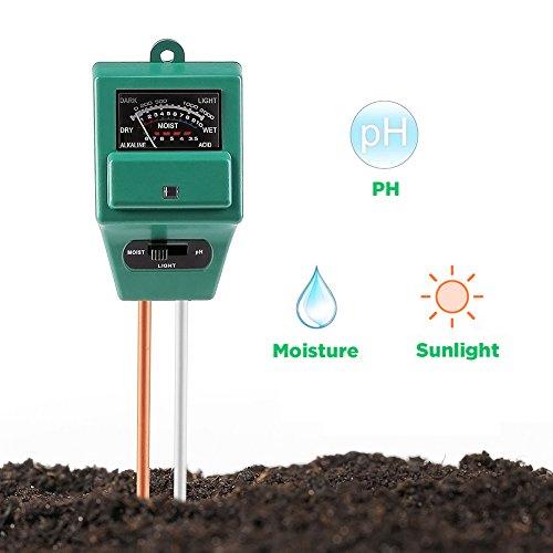 Surenhap Medidor de pH del suelo, Medidor de sensor de humedad 3-en-1 / Luz solar / Prueba de pH del suelo, función de prueba para hogar y jardín, plantas, granja, uso interior / exterior. (Medidor de pH del suelo 3-en-1)