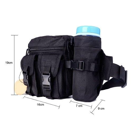 Vita Borsa per sport all' aperto come campeggio, escursionismo, Marsupio Marsupio Tattico Bag, Tan Black