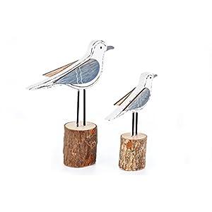 HEITMANN DECO Holz-Figuren Möwen auf Poller – Maritime und Frühlings-Deko – Dekofiguren – 2er-Set