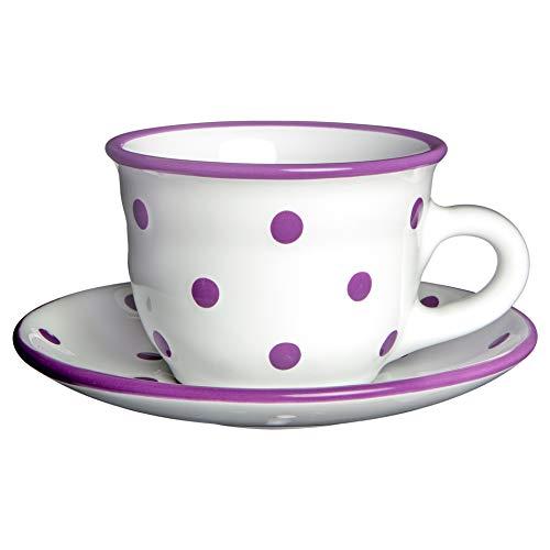 City to Cottage | Tasse et sous tasse à café, à thé | blanche à pois violets en céramique faite et peinte à la main | 250ml