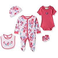 Rock-A-Bye Baby Bright Roses Print Clothes for Baby Girls, 0-3 Months - Pink, Pack of 5