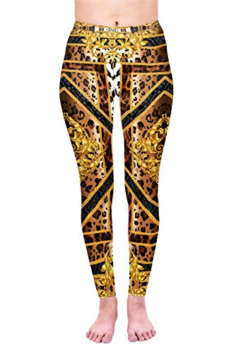 Kukubird Printed Leopard Patterns Women's Yoga Leggings Gym Fitness Running Tights Size 6-10 Stretchable - Baroque Leopard