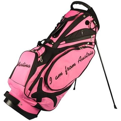 """Bolsa golf trípode modelo MUIRFIELD con 3 áreas personalizadas """"1 bandera/3 escritos"""" en rosa"""
