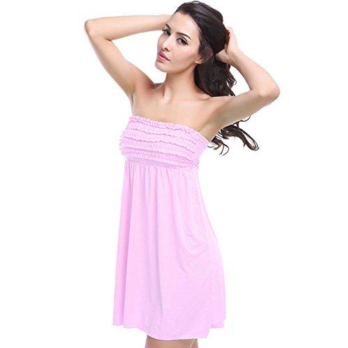 Pinkyee Damen Vintage Mini Rüschen Top bandagierte wieder Casual Strand Kleid Pink