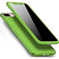Herbests iPhone 8 Plus/iPhone 7 Plus 5.5 Hülle 360 Grad HandyHülle Komplettschutz Rundumschutz-Schale Vollschutz Handyhülle Hart PC Full Cover vorne hinten Handytasche Rückseite Bumper,Grün