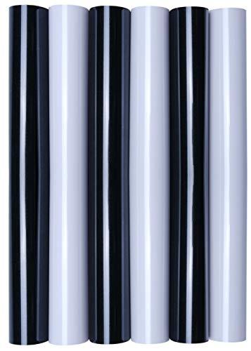 5 x A4 Transferfolie/Textilfolie zum Aufbügeln auf Textilien - perfekt zum Plottern, P.S. Film:6er Set Black & White