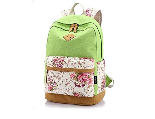 Hosaire 1X Ragazze Ladies Womens stampa tela zaino zaino scuola borsa Casual Borsa zainetto,rosa,Dimensioni: 30 * 17 * 44 centimetri Verde