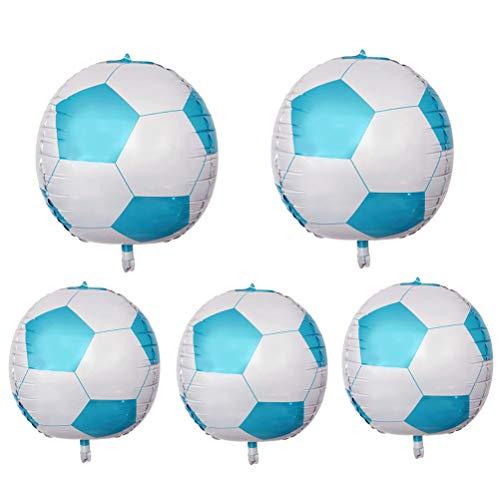 NUOBESTY 5 stücke 24 Zoll aluminiumfolie Ballon 4d fußball Mylar Luftballons Partei liefert für Geburtstag Sport Thema Party Dekoration (blau)