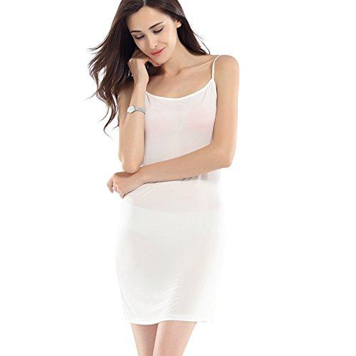 Hoffen 100%seta donna sexy sottoveste pigiama vestito biancheria intima (l, bianco)